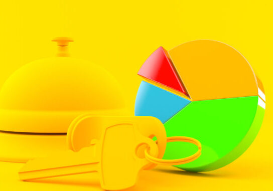 Hospitality background with pie chart in orange color. 3d illustration